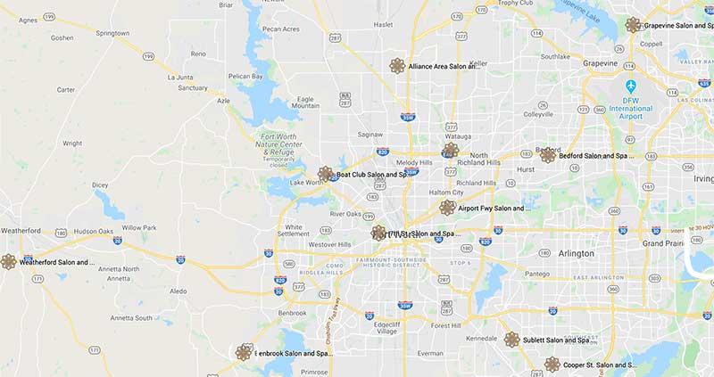 salon and spa area locations